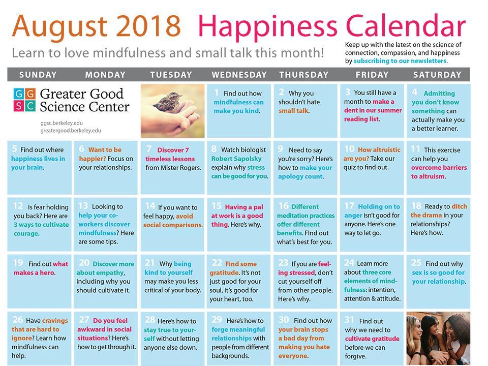August 2018 Happiness Calendar