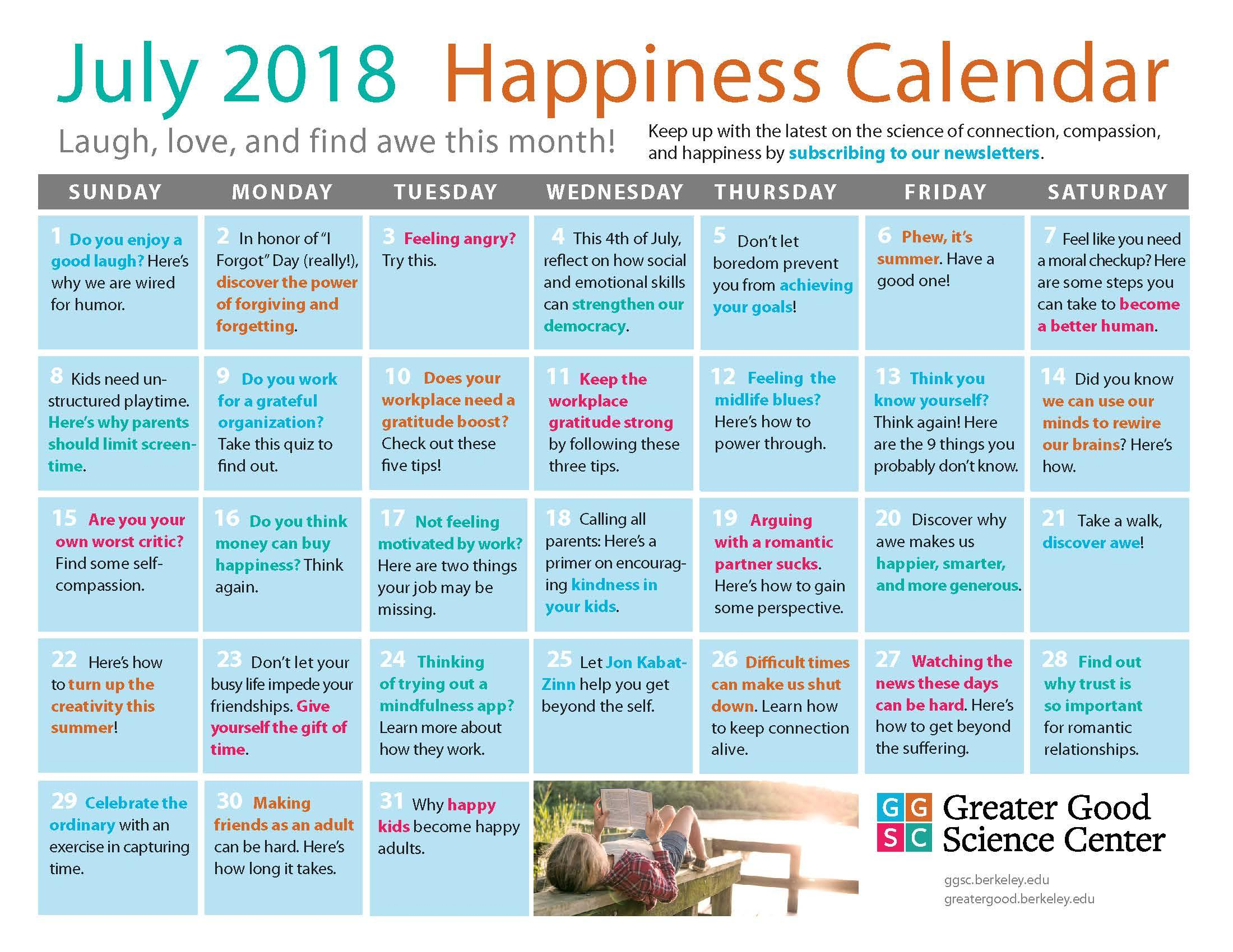 July 2018 Happiness Calendar